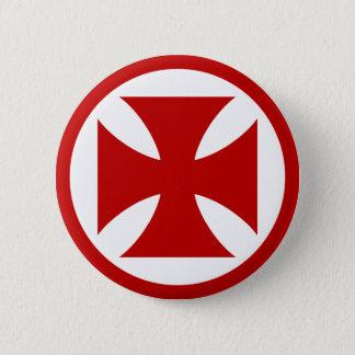 Bóton Redondo 5.08cm Cruz no vermelho do círculo