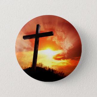 Bóton Redondo 5.08cm Cruz religiosa da páscoa no por do sol