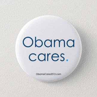 Bóton Redondo 5.08cm Cuidados de Obama, período. Botão