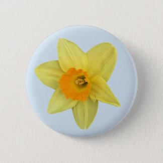 Bóton Redondo 5.08cm Daffodil amarelo do primavera em azul pálido