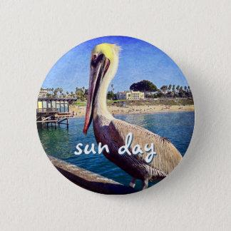 """Bóton Redondo 5.08cm De """"botão da foto do pelicano do cais da praia das"""