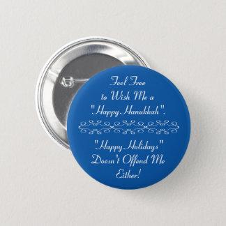 Bóton Redondo 5.08cm Deseje-me Hanukkah feliz ou boas festas, azul