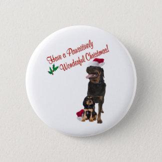 Bóton Redondo 5.08cm Desejos do Natal de Rottweiler