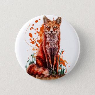 Bóton Redondo 5.08cm Desenho da arte animal vermelha do Fox e da