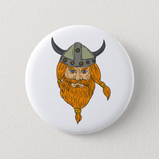 Bóton Redondo 5.08cm Desenho da cabeça do guerreiro de Viking do