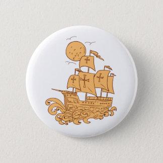 Bóton Redondo 5.08cm Desenho da lua do navio de navigação de Caravel