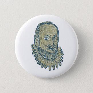 Bóton Redondo 5.08cm Desenho do busto do senhor Walter Raleigh