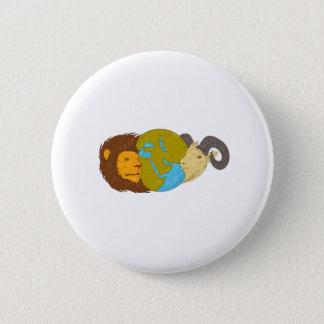 Bóton Redondo 5.08cm Desenho do globo do mapa de Médio Oriente da