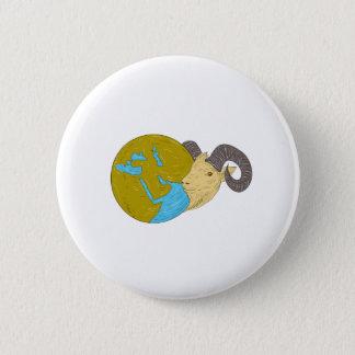 Bóton Redondo 5.08cm Desenho principal do globo de Médio Oriente da ram