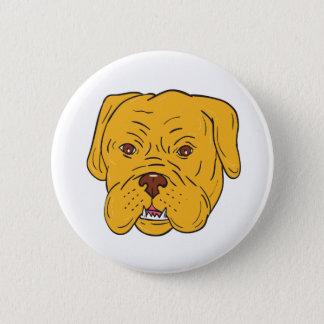 Bóton Redondo 5.08cm Desenhos animados da cabeça de cão do Bordéus