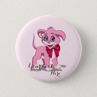Bóton Redondo 5.08cm Desenhos animados do filhote de cachorro do rosa