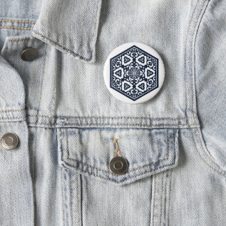 Bóton Redondo 5.08cm Design azul turco do tracery dos mercadorias do