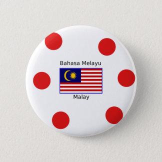 Bóton Redondo 5.08cm Design da língua da bandeira e do Malay de