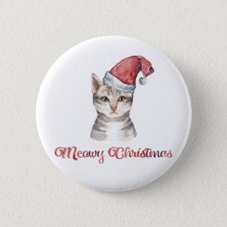 Bóton Redondo 5.08cm Design do Natal de Meowy para amantes do gato