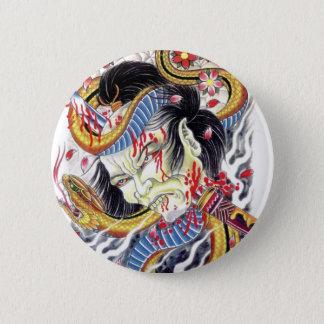 Bóton Redondo 5.08cm Design do tatuagem do grotesco & do cobra