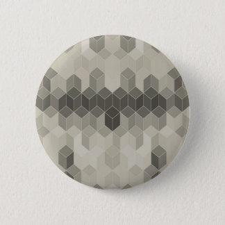 Bóton Redondo 5.08cm Design geométrico do cubo da escala cinzenta