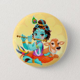 Bóton Redondo 5.08cm Deus indiano de Krishna que joga a ilustração da