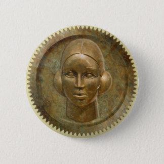 Bóton Redondo 5.08cm Deusa dourada da engrenagem do metal de Steampunk