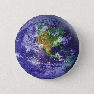 Bóton Redondo 5.08cm Dia da Terra do globo 3D