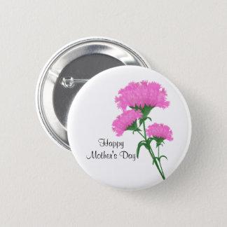 """Bóton Redondo 5.08cm """"Dia das mães feliz"""" três cravos cor-de-rosa"""