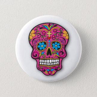 Bóton Redondo 5.08cm Dia mexicano cor-de-rosa bonito do crânio do