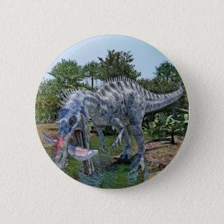 Bóton Redondo 5.08cm Dinossauro de Suchomimus que come um tubarão em um