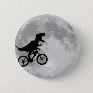 Bóton Redondo 5.08cm Dinossauro em uma bicicleta no céu com