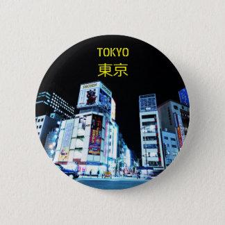 Bóton Redondo 5.08cm Distrito de Ginza em Tokyo, Japão na noite