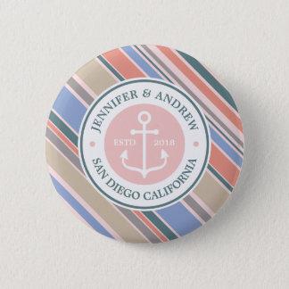 Bóton Redondo 5.08cm Do rosa na moda das listras da âncora do monograma