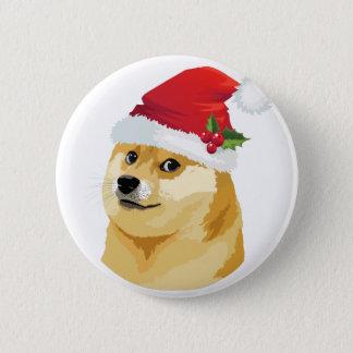 Bóton Redondo 5.08cm Doge do Natal - doge do papai noel - cão do Natal