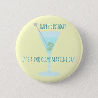Bóton Redondo 5.08cm Dois cartões de aniversários felizes verde-oliva