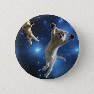 Bóton Redondo 5.08cm Dois gatos do espaço que flutuam em torno da