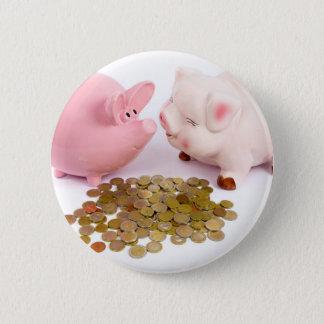 Bóton Redondo 5.08cm Dois mealheiros com as euro- moedas no branco
