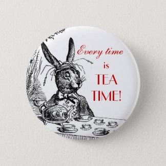 "Bóton Redondo 5.08cm 'É todas as vezes o tempo do chá!"" ~Alice no Pin"