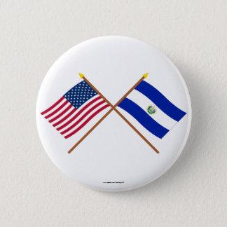 Bóton Redondo 5.08cm E.U. e bandeiras cruzadas El Salvador