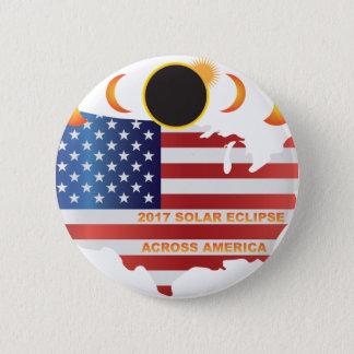 Bóton Redondo 5.08cm Eclipse 2017 solar através da ilustração do mapa