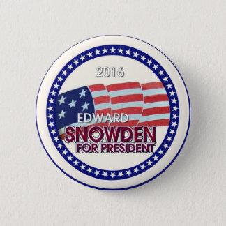 Bóton Redondo 5.08cm Edward Snowden para o presidente 2016
