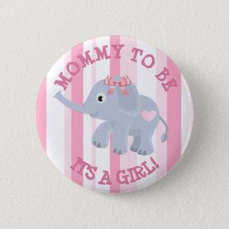 Bóton Redondo 5.08cm Elefante cor-de-rosa seu um Pin do chá de fraldas