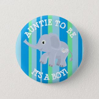 Bóton Redondo 5.08cm Elefante das listras azuis seu um Pin do chá de
