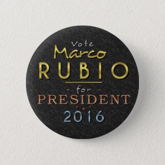 Bóton Redondo 5.08cm Elegante preto do presidente 2016 ouro de Marco