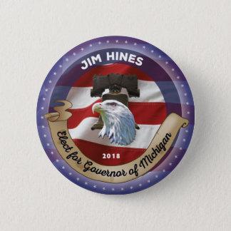Bóton Redondo 5.08cm Eleja Jim Hines para o governador de Michigan