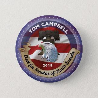 Bóton Redondo 5.08cm Eleja Tom Campbell para o senador de North Dakota