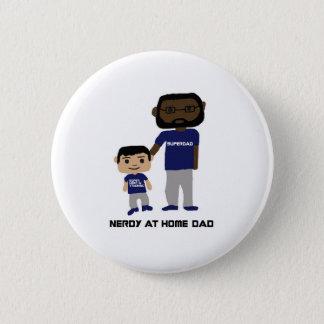 Bóton Redondo 5.08cm Em casa botão Nerdy do pai