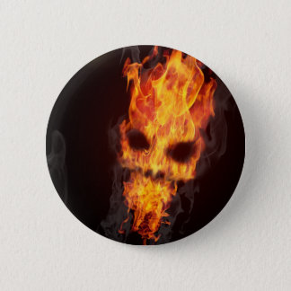 Bóton Redondo 5.08cm Emblema Cabeça de morte em chamas