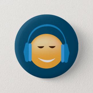 Bóton Redondo 5.08cm Emoji com fones de ouvido