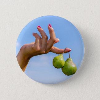 Bóton Redondo 5.08cm Entregue guardarar duas peras verdes de suspensão