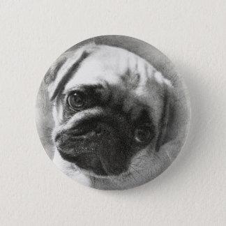 Bóton Redondo 5.08cm Esboço do cão de filhote de cachorro do Pug