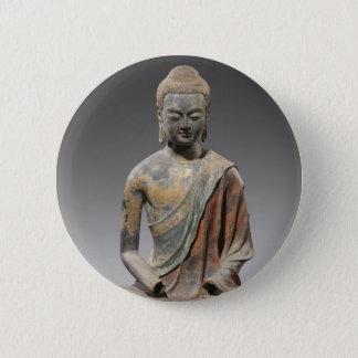 Bóton Redondo 5.08cm Escultura descolorada de Buddha - dinastia de Tang