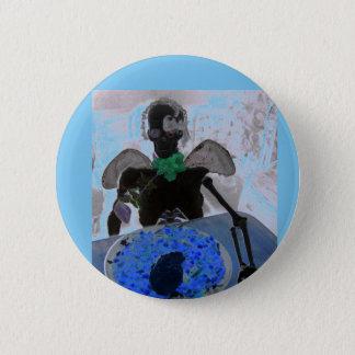 Bóton Redondo 5.08cm Esqueleto azul e preto, ossos, crachá do botão