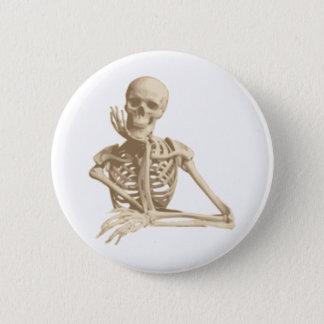 Bóton Redondo 5.08cm Esqueleto pensativo